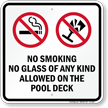 No Smoking On The Pool Deck Sign
