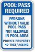 Persons Without Valid Pool Pass Not Allowed Sign