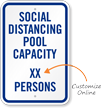 Social Distancing Pool Capacity Add Number of Persons Custom Social Distancing Pool Capacity Sign
