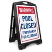 Warning Pool Closed Temporarily Sidewalk Sign