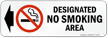 Designated No Smoking Area Symbol and Left Arrow label