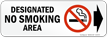 Designated No Smoking Area Symbol and Right Arrow label