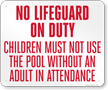 Alabama No Lifeguard On Duty Pool Sign