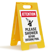 Attention Please Shower Before Entering Pool Floor Sign