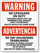 Bilingual No Lifeguard on Duty Sign