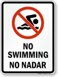 Bilingual No Swimming Prohibition Sign