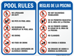 Bilingual Pool Area Rules Sign with Symbols