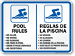 Bilingual Pool Rules, No Diving Sign