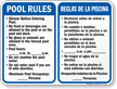 Bilingual Pool Rules, Timings, Maximum Occupancy Sign