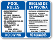 Bilingual Pool Rules, Timings, No Diving Sign