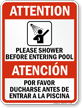 Bilingual Shower Before Entering Pool Sign