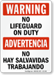 Bilingual Warning No Lifeguard on Duty Sign
