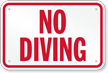 No Diving Sign Pool Sign