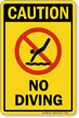Caution No Diving Sign