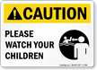 Caution! Please Watch Your Children Pool Sign