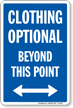 Clothing Optional Beyond Point sign, Bidirectional Arrow