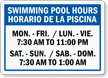 Customizable Bilingual Pool Hours Sign