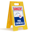 Danger, Pool Chemicals Floor Sign with Graphic