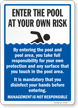 Enter The Pool At Your Own Risk Pool Rules Sign