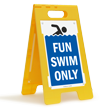 Fun Swim Only Floor Sign
