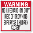 Georgia No Lifeguard On Duty Pool Sign