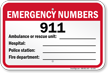 Emergency Numbers Pool Sign