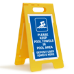 Keep Towels In Pool Area Floor Sign