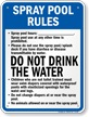 Montana Spray Pad Rules Pool Sign