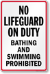 New York No Lifeguard On Duty Pool Sign