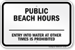 New York Public Beach Hours Sign