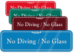 No Diving No Glass ShowCase Wall Sign