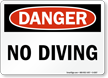 No Diving OSHA Danger Sign
