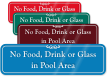 No Food, Drink, Glass in Pool Area Sign