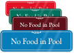 No Food In Pool ShowCase Wall Sign