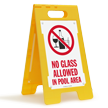 No Glass Allowed In Pool Area Floor Sign