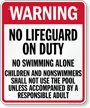 Pennsylvania No Lifeguard On Duty Sign