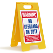 No Lifeguard On Duty Warning Floor Sign