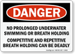 No Prolonged Underwater Swimming Danger Sign