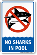 No Sharks In Pool Sign