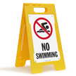 No Swimming Floor Sign