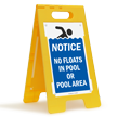 Notice No Floats In Pool Or Pool Area Floor Sign
