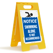 Notice Swimming Alone Is Not Recommended Floor Sign