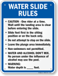 Water Slide Rules Sign for Oregon