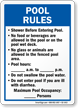 Pool Rules, Timings and Maximum Occupancy Sign