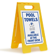 Pool Towels Available at Front Desk Floor Sign