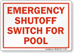 Emergency Shutoff Switch For Pools Sign