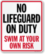 No Lifeguard On Duty Sign for South Carolina