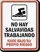 Spanish No Lifeguard on Duty Sign