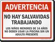 Spanish Warning No Lifeguard on Duty Sign