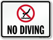 No Diving Sign for Arizona, Arkansas, California & Florida